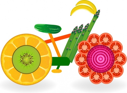 bicycle icon colorful fruit components ornament