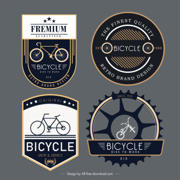 bicycle label templates elegant dark flat decor