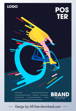 bicycle race poster cyclist icon colorful dynamic design