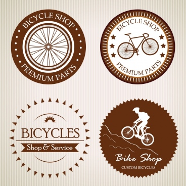 bicycle shop logotype various circle flat isolation
