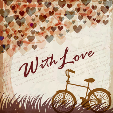 bicycle under heart tree romantic background