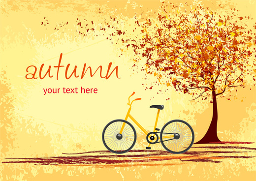 bicycle under tree root in autumn romantic scene