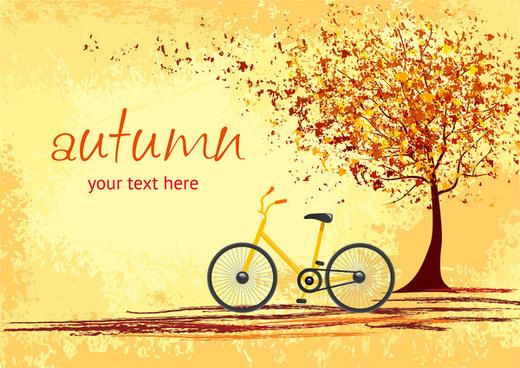 bicycle under tree root in autumn romantic scene