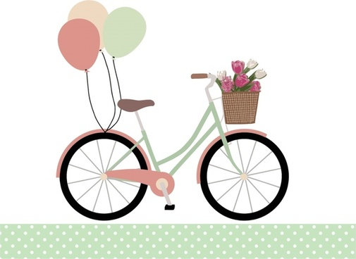 bicycle with balloons realistic vector in romantic style