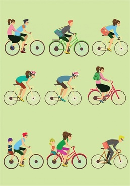 bicycles and cyclists vector illustration in colored flat