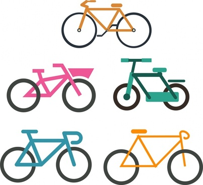 bicycles collection various types isolation on white background
