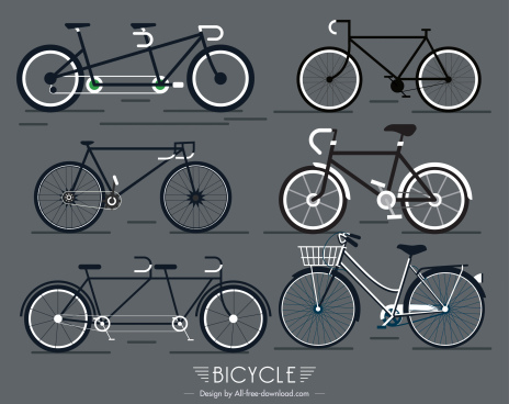bicycles icons flat shapes sketch