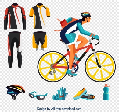 bicycling sports design elements clothes tools bicyclist icons