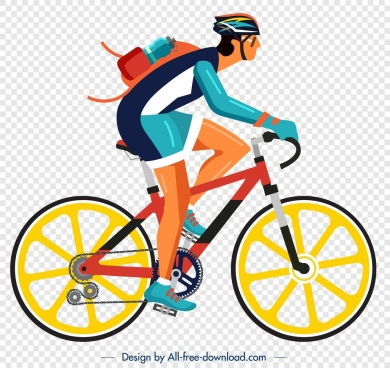 bicyclist icon colorful cartoon character sketch