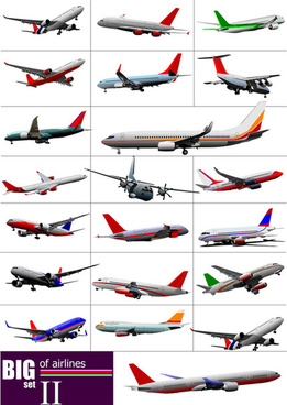 big airplanes model set vector