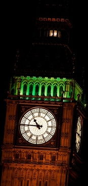 big ben detail at night