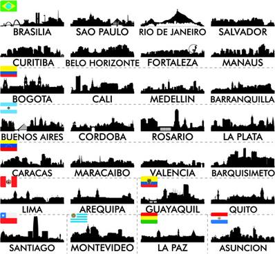 big cities silhouette set vector