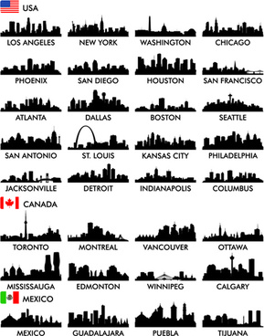 big cities silhouette set vector
