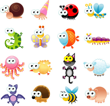 big eyed insects and animals vector