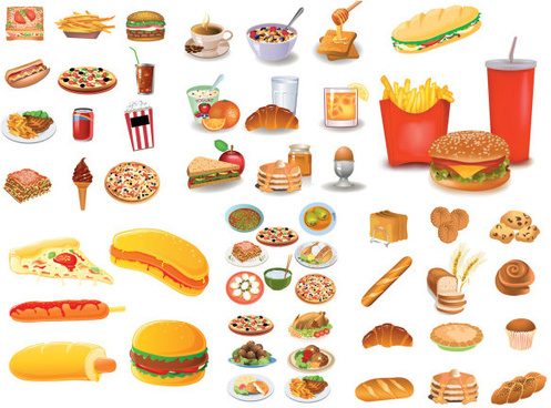 big food breakfast icons collections