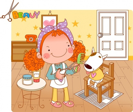 childhood background girl pet icons cute cartoon sketch