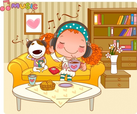lifestyle painting music relaxing theme cartoon character design