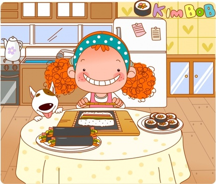lifestyle painting girl cooking icon cartoon character