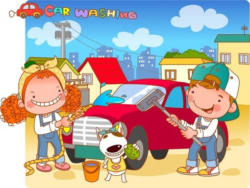 childhood painting car wash theme colored cartoon design