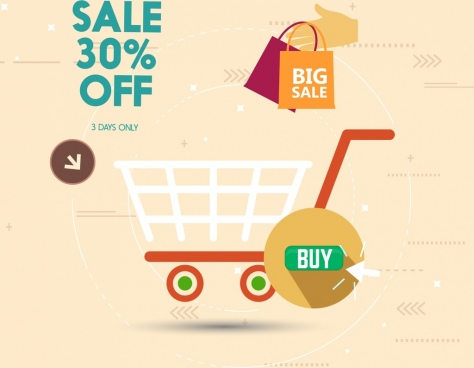 big sale banner cart bag icons flat design