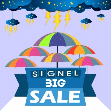 big sale banner cloud thunderbolt umbrella icons decoration