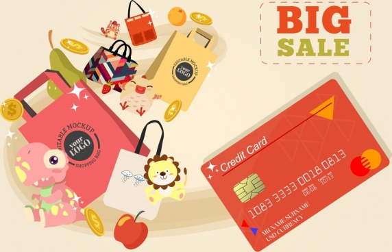 big sale banner credit card shopping elements decor