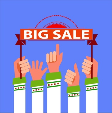 big sale banner design with hands raising ribbon