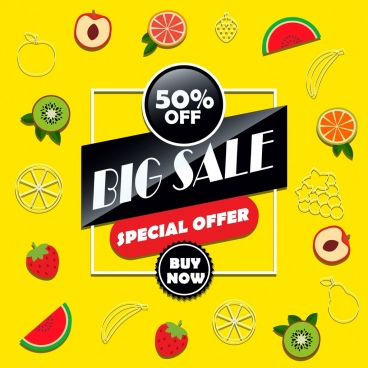big sale banner fruits icons decoration