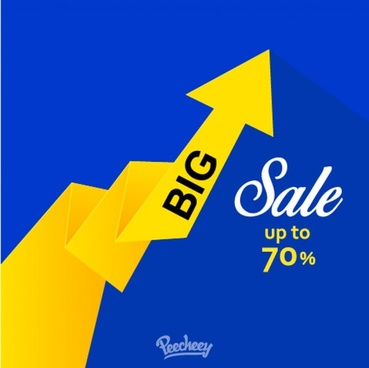 big sale banner in the shape of the yellow arrow