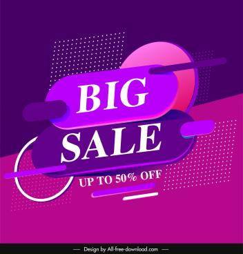 big sale banner modern violet decor