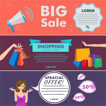 big sale banners design with colored horizontal style