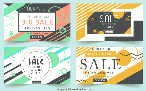 big sale banners flat dynamic design circles decor