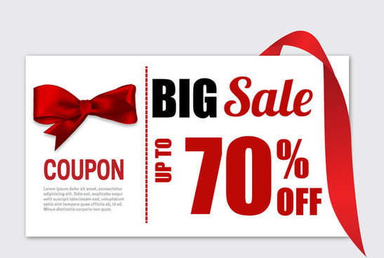 big sale coupon banner with red knot ribbon