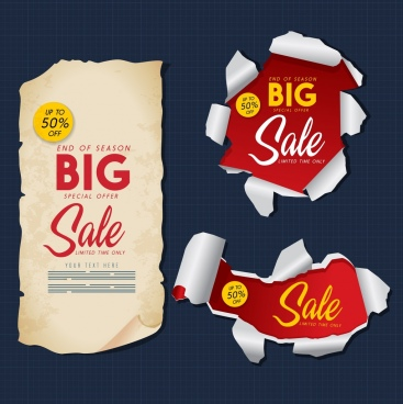 big sale design elements ragged papers decor