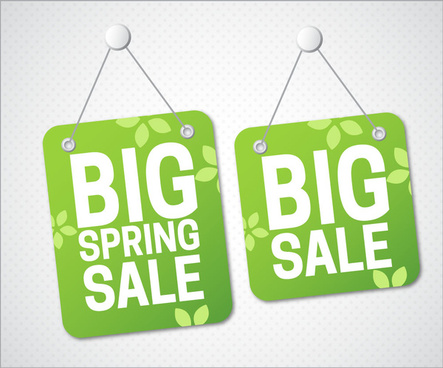 big sale hanging tags with green background