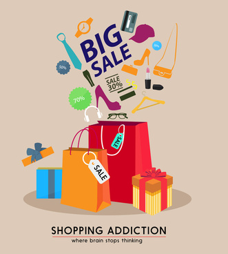 big sale poster design with bags and goods