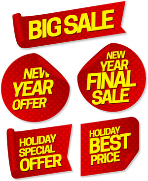 big sale promotion banners sets on various shapes