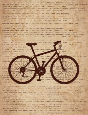 bike silhouette on old paper background