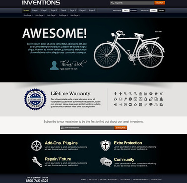 bike website template vector