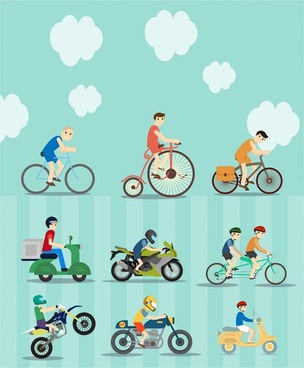 bikes and motorcycles vector illustration with various styles