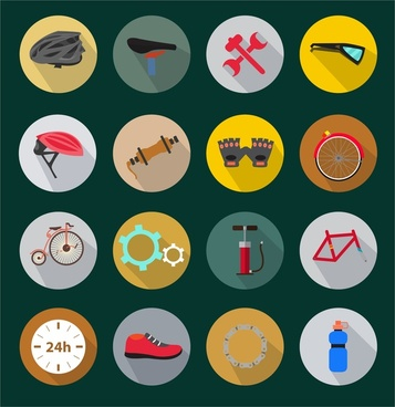 biking tools icons illustration in circle style