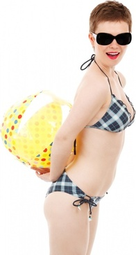 bikini girl with a beach ball