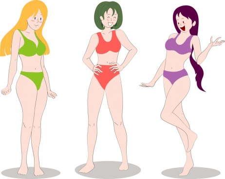 bikini girls icons colored cartoon characters