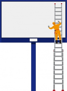 billboard background blank advertisement board climbing worker icons