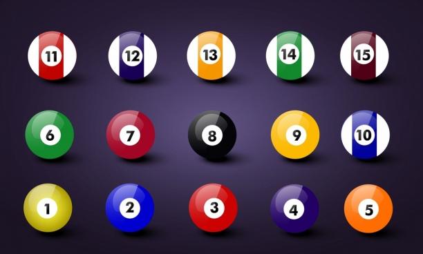 billiards balls icons shiny colorful design realistic style