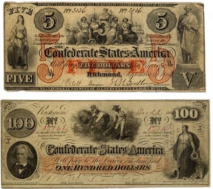 bills confederate states of america dollar