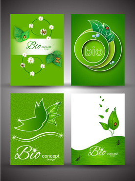 bio concept design sets with green color background