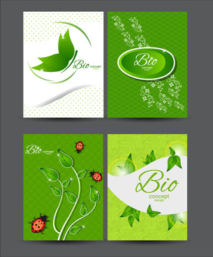 bio concept design sets with green illustration
