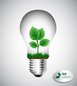 bio concept design with leaf and lightbulb illustration