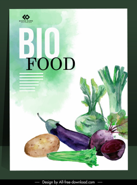 bio food banner colorful retro design vegetable sketch